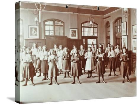Girls Holding Indian Clubs, Cromer Street School/ Argyle School, St Pancras, London, 1906--Stretched Canvas Print