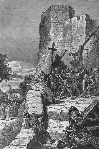 Procession of the Crusaders Round the Walls of Jerusalem, 1099--Stretched Canvas Print