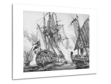Captain Keigwin in the Revenge, Beating Off Sevagees Fleet, 1884--Metal Print