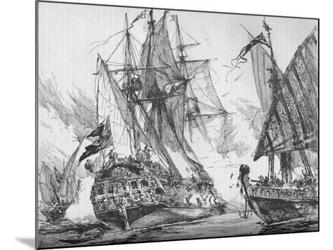 Captain Keigwin in the Revenge, Beating Off Sevagees Fleet, 1884--Mounted Giclee Print