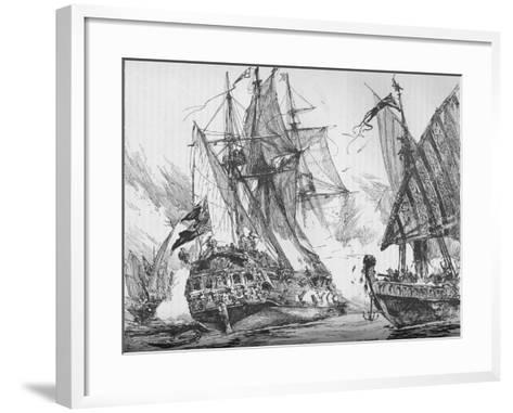 Captain Keigwin in the Revenge, Beating Off Sevagees Fleet, 1884--Framed Art Print