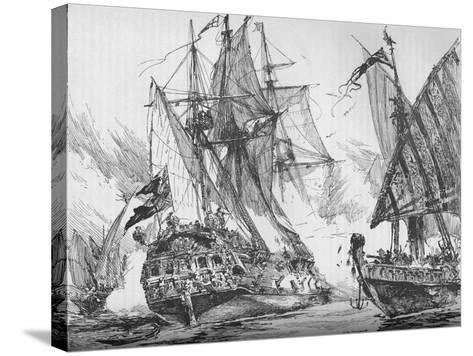 Captain Keigwin in the Revenge, Beating Off Sevagees Fleet, 1884--Stretched Canvas Print