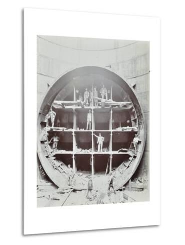 Men Standing in the Shield Used to Cut Rotherhithe Tunnel, Bermondsey, London, July 1907--Metal Print