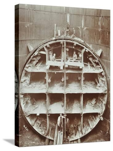Men Standing in the Cutting Shield, Rotherhithe Tunnel, Stepney, London, August 1907--Stretched Canvas Print