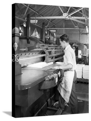 Page Cutting Guillotine in Use at a South Yorkshire Printing Company, 1959-Michael Walters-Stretched Canvas Print