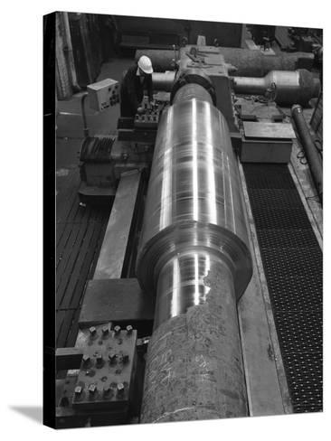Toolholder Turning a Giant Roller, Edgar Allens, Sheffield, 1964-Michael Walters-Stretched Canvas Print