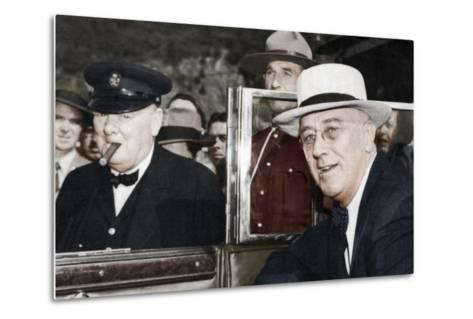 Franklin D Roosevelt and Winston Churchill Meeting in Quebec, Canada, 1944--Metal Print