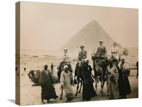 British Tourists Seated on Camels in Front of the Great Pyramid, Giza, Egypt, 1936--Stretched Canvas Print