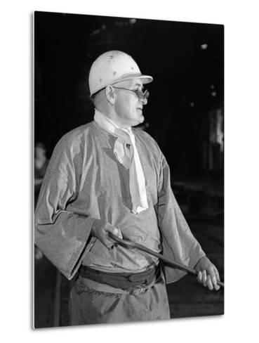 Steel Worker, Park Gate Steelworks, Rotherham, South Yorkshire, 1964-Michael Walters-Metal Print