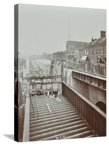 Construction of the Bridge Approach to Rotherhithe Tunnel, Bermondsey, London, 1906--Stretched Canvas Print