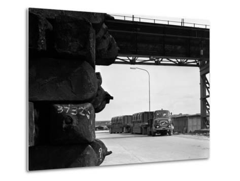 Erf 66Gsf Tipper Pulling a Hot Ingot Transporter, Rotherham, South Yorkshire, 1963-Michael Walters-Metal Print
