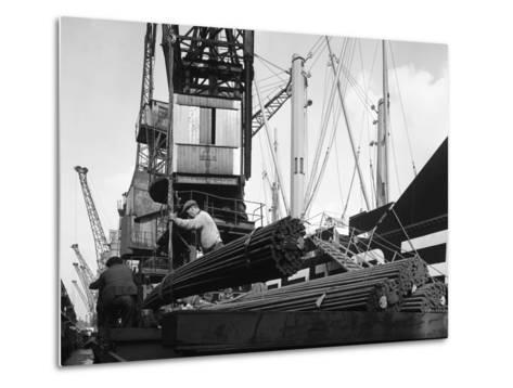 Dockers Loading Steel Bars onto the Manchester Renown, Manchester, 1964-Michael Walters-Metal Print