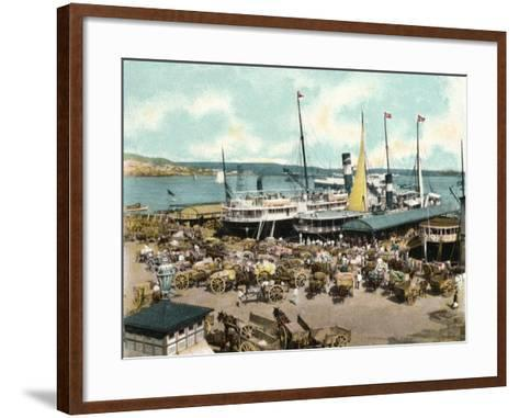 Muelle De Luz Harbour with Ferries, Havana, Cuba, 1904--Framed Art Print
