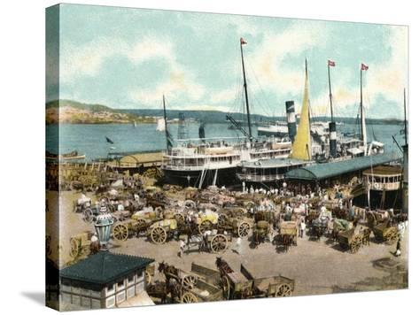 Muelle De Luz Harbour with Ferries, Havana, Cuba, 1904--Stretched Canvas Print