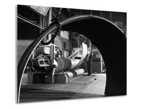 Rolling Plate at Edgar Allens Steel Foundry, Sheffield, South Yorkshire, 1964-Michael Walters-Metal Print