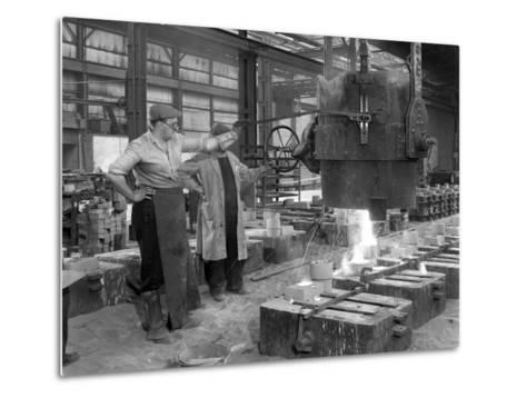 Pouring a Small Casting at Edgar Allens Steel Foundry, Sheffield, South Yorkshire, 1963-Michael Walters-Metal Print