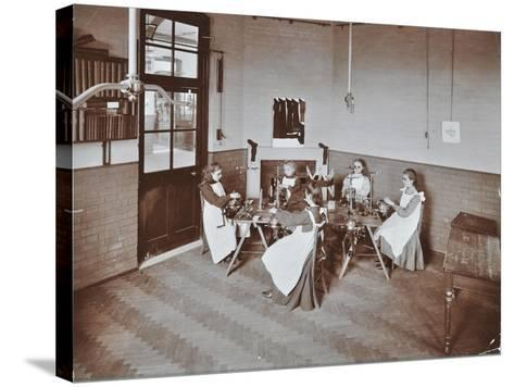 Girls Knitting Socks by Machine at the Elm Lodge School for Blind Girls, London, 1908--Stretched Canvas Print
