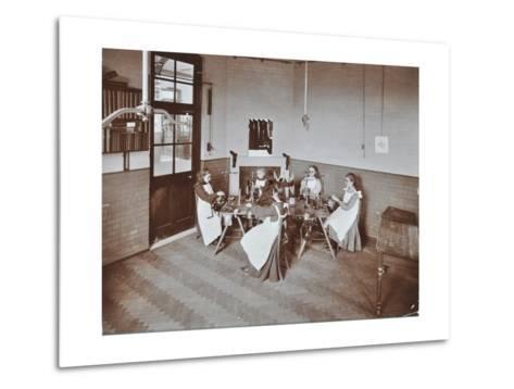 Girls Knitting Socks by Machine at the Elm Lodge School for Blind Girls, London, 1908--Metal Print