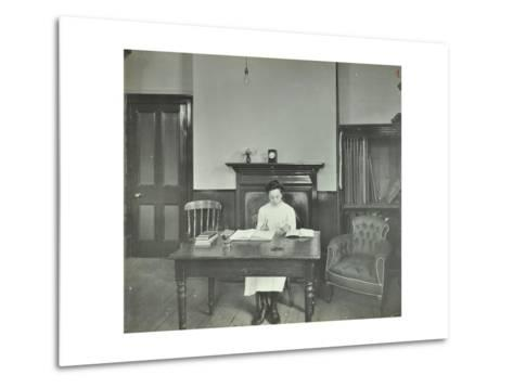 Female Student Sitting at Desk, Shoreditch Technical Institute, London, 1907--Metal Print