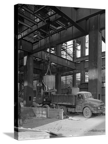 Austin Lorry on a Construction Site, Leeds, West Yorkshire, 1959-Michael Walters-Stretched Canvas Print