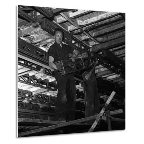 Engineers Lifting Steelwork into Position, South Yorkshire, 1954-Michael Walters-Metal Print