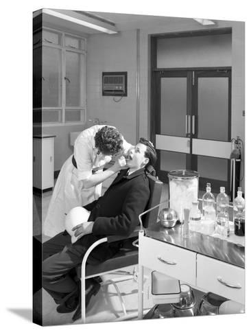 Health Check in the Medical Room, Park Gate Iron and Steel Co, Rotherham, South Yorkshire, 1964-Michael Walters-Stretched Canvas Print