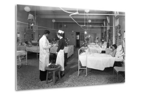 The Female Medical Ward at the Montague Hospital, Mexborough, South Yorkshire, 1959-Michael Walters-Metal Print