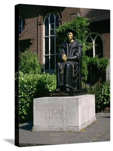 Statue of Sir Thomas More in Front of Chelsea Old Church, Cheyne Walk, London-Peter Thompson-Stretched Canvas Print