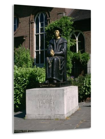 Statue of Sir Thomas More in Front of Chelsea Old Church, Cheyne Walk, London-Peter Thompson-Metal Print