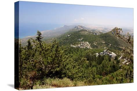 View from Kantara Castle, North Cyprus-Peter Thompson-Stretched Canvas Print