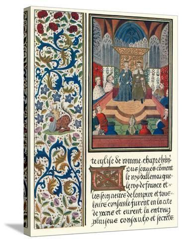 Illuminated Page, with Bordering, C1480-Jean Froissart-Stretched Canvas Print