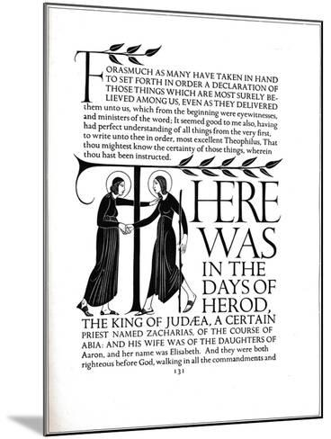 Page Decoration from the Four Gospels, 1931-Eric Gill-Mounted Giclee Print