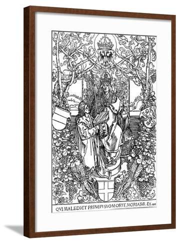 Conrad Celtes Presenting His Book Quatuor Libri Amorum to Maximilian I, 1502-Albrecht D?rer-Framed Art Print