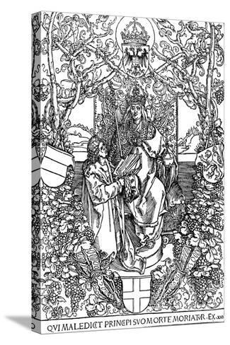 Conrad Celtes Presenting His Book Quatuor Libri Amorum to Maximilian I, 1502-Albrecht D?rer-Stretched Canvas Print