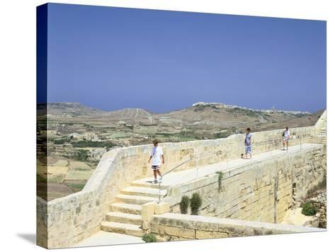 The Path around the Walls of the Citadel, Victoria, Gozo, Malta-Peter Thompson-Stretched Canvas Print