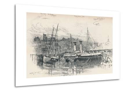 Folkestone Harbour, 1896, (1898)-Edward William Charlton-Metal Print