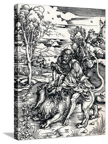 Samson Rending the Lion, 1497-Albrecht D?rer-Stretched Canvas Print