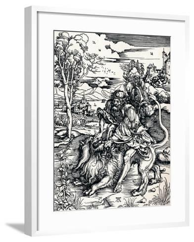Samson Rending the Lion, 1497-Albrecht D?rer-Framed Art Print