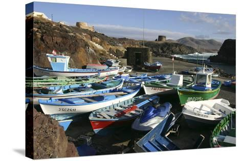 Fishing Boats, El Cotillo, Fuerteventura, Canary Islands-Peter Thompson-Stretched Canvas Print
