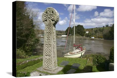 Celtic Cross, St Just in Roseland, Cornwall-Peter Thompson-Stretched Canvas Print