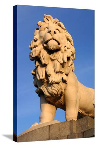South Bank Lion, London-Peter Thompson-Stretched Canvas Print