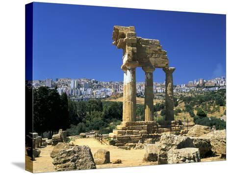Temple of Diosuri, Agrigento, Sicily, Italy. Agrigento Town Behind-Peter Thompson-Stretched Canvas Print