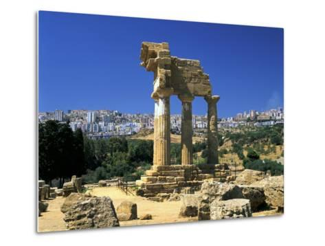 Temple of Diosuri, Agrigento, Sicily, Italy. Agrigento Town Behind-Peter Thompson-Metal Print