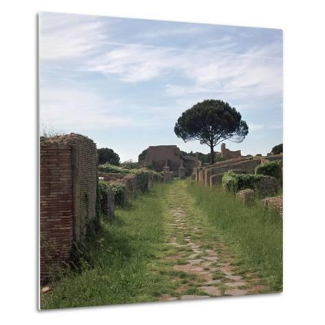 Street and Buildings in the Roman Town of Ostia, 2nd Century-CM Dixon-Metal Print