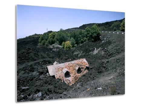 House Destroyed by Lava Flow, Mount Etna, Sicily, Italy-Peter Thompson-Metal Print