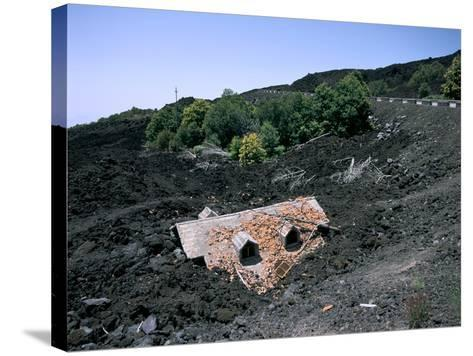 House Destroyed by Lava Flow, Mount Etna, Sicily, Italy-Peter Thompson-Stretched Canvas Print