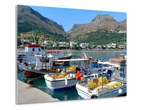 Fishing Boats in the Harbour, Plakias, Crete, Greece-Peter Thompson-Metal Print