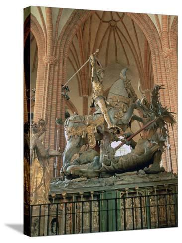 St George and the Dragon Statue, Inside the Storkyrkan Church, Stockholm, Sweden-Peter Thompson-Stretched Canvas Print