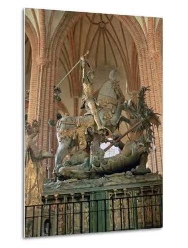 St George and the Dragon Statue, Inside the Storkyrkan Church, Stockholm, Sweden-Peter Thompson-Metal Print
