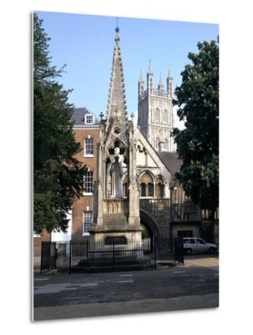 John Hooper Memorial, St Marys Gate and Gloucester Cathedral, Gloucestershire-Peter Thompson-Metal Print